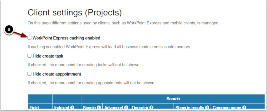 Client settings (Projects) - Google Chrome