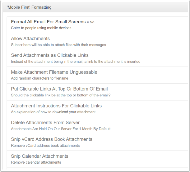There are many options that are dependent upon Format All Email For Small Screens being turned on.