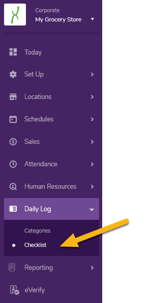 Navigate to the Checklist page