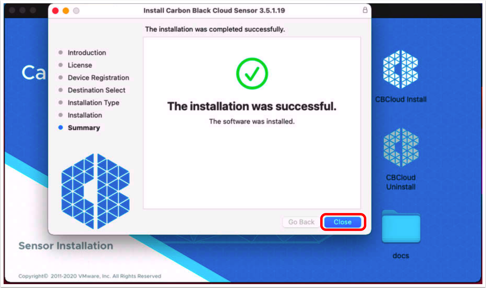 Close VMware Carbon Black cloud sensor installer on macOS
