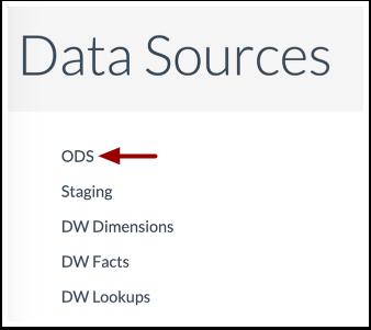 Open Data Source Table Menu