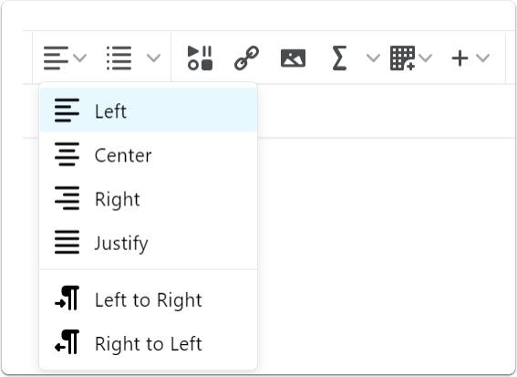 Text alignment options