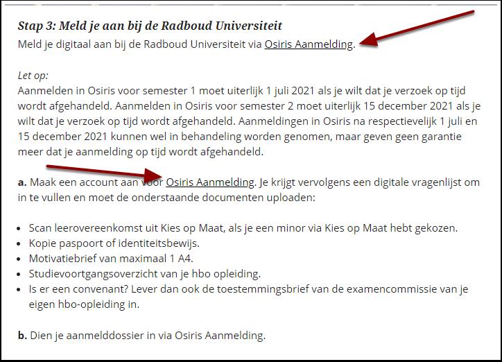 Toelating en inschrijving hbo-minor - Radboud Universiteit - Google Chrome