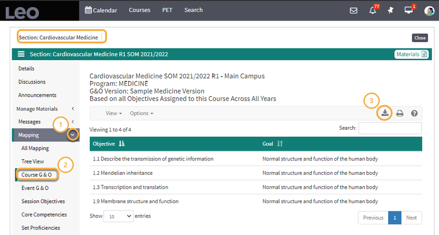 The student can now check the objective list by clicking Mapping and selecting Course G&O