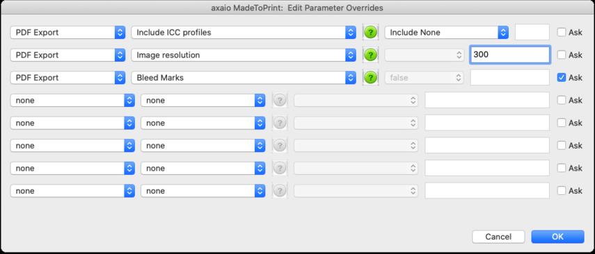 axaio MadeToPrint:  Edit Parameter Overrides