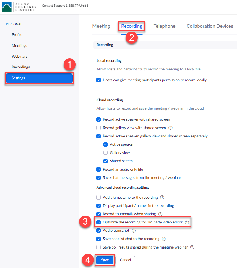 """View of a user's Zoom recording settings with """"Optimine the recording for 3rd party video editor"""" option selected"""