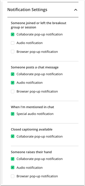 Image of the list of notification settings in Collaborate