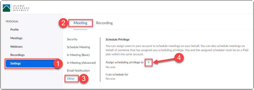View of a user's Zoom meeting settings with Scheduling Privilege being added