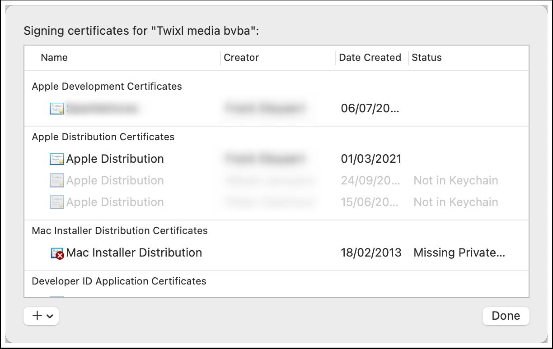 Xcode Certificates