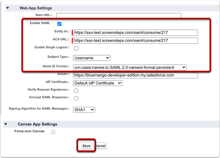 Enter Web App Settings and Save