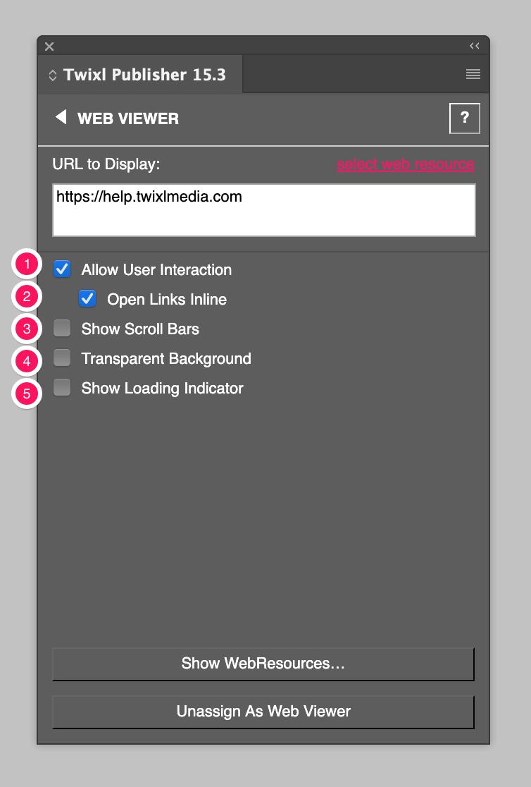 Web Viewer Options