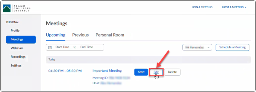 Receiver edits the meeting details of the other licensed user who has granted him or her scheduling priveleges