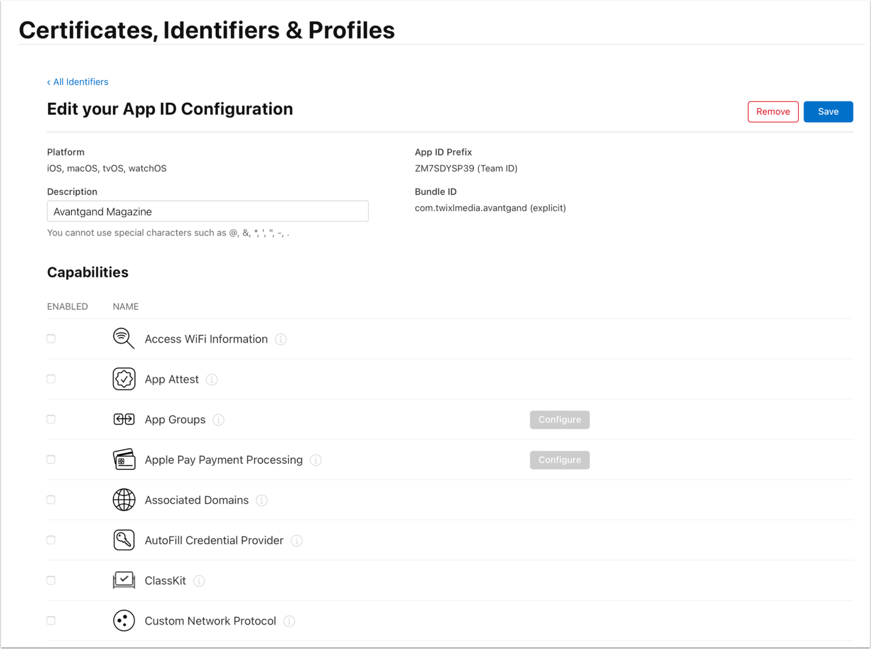 App ID Config