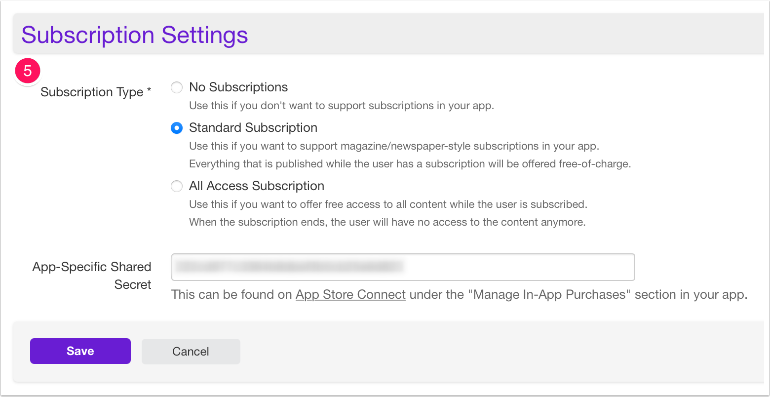 App with Monolithic collections: Subscription Settings - Twixl Distribution Platform