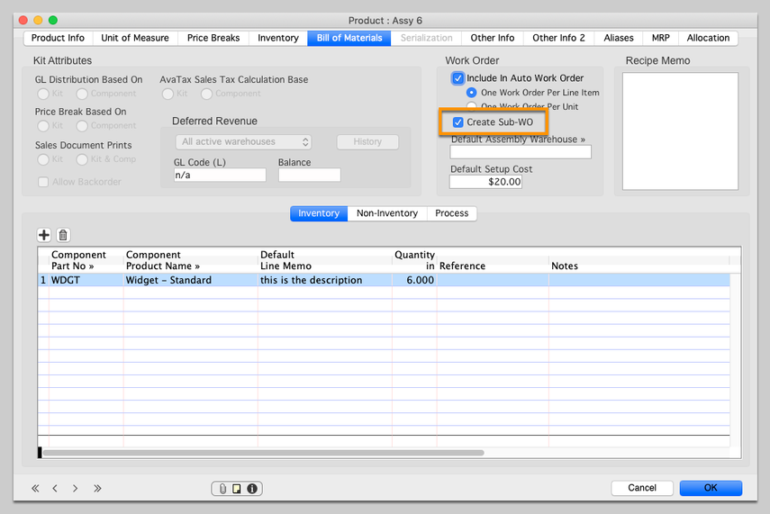 Enable Auto Sub Work Order creation for a Sub Assembly