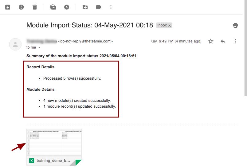 Module Import Status: 04-May-2021 00:18 - nikhil@theteamie.com - Teamie Pte Ltd Mail