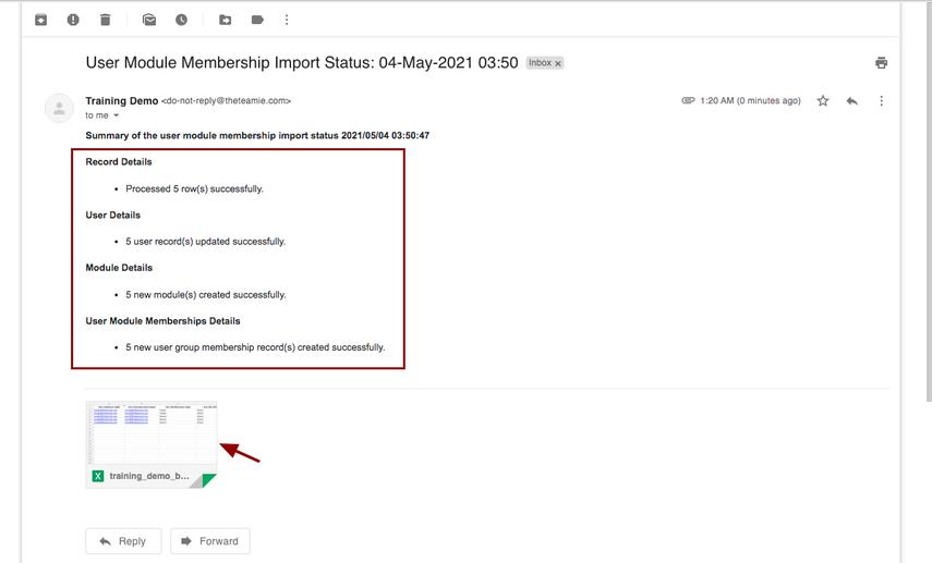 User Module Membership Import Status: 04-May-2021 03:50 - nikhil@theteamie.com - Teamie Pte Ltd Mail