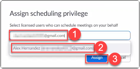 Zoom user adds and assigns another licensed Zoom user to schedule meetings on their behalf