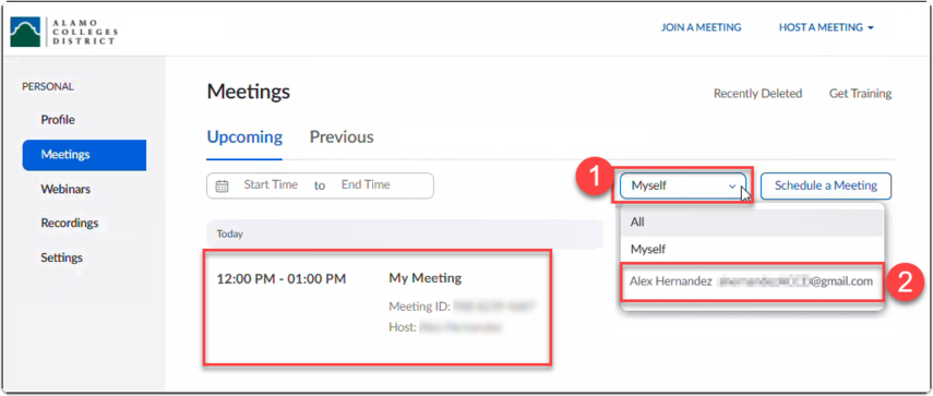 Zoom user selects another user to schedule an upcoming meeting on their behalf