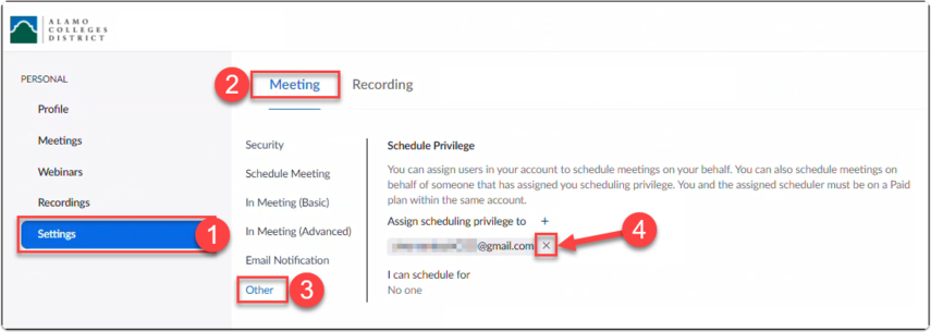 View of a user's Zoom meeting settings with Scheduling Privilege being disabled