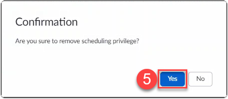 Zoom user confirms removing scheduling privilege from another user
