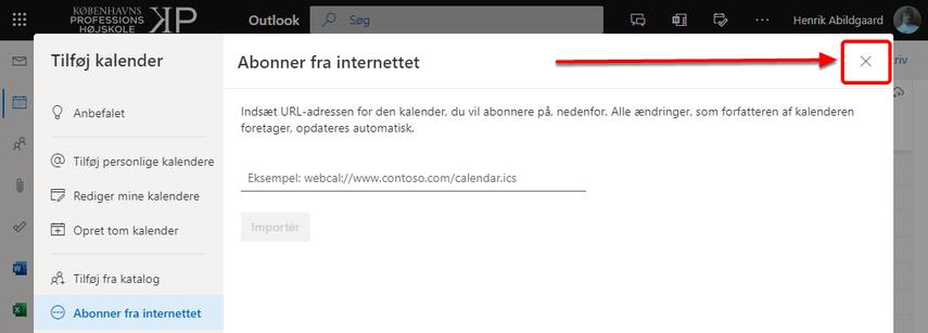Kalender – Henrik Abildgaard – Outlook – Google Chrome