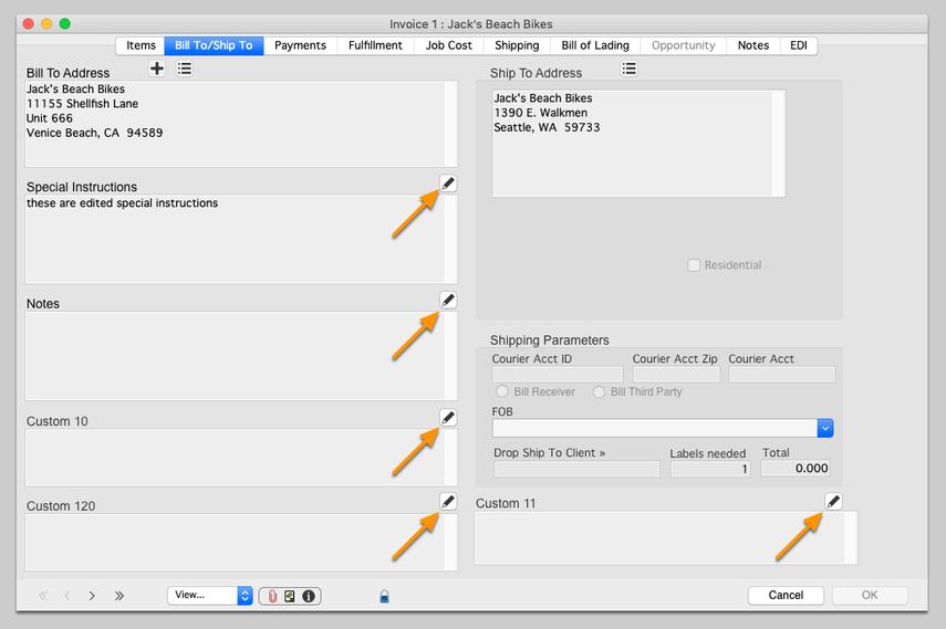 Editable fields