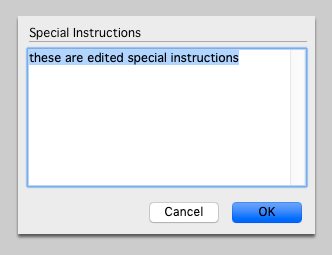Edit the special instructions