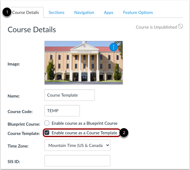 Enable Course as Course Template