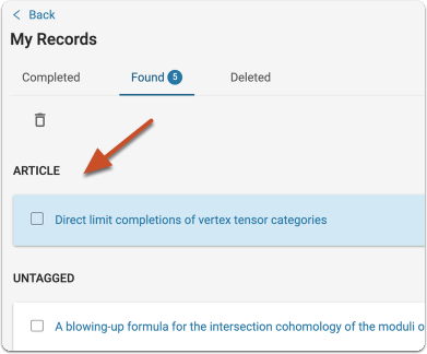 The untagged record will now appear as the record type you selected above