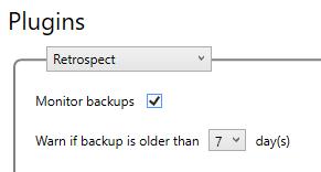 Windows 10 - Retrospect Backup Plugin - Monitor backups