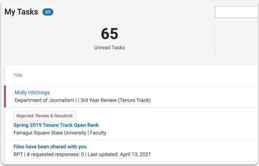 Cases you are assigned to review will appear in the My Tasks list on your homepage.