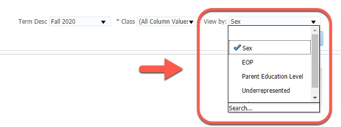 Arrow pointing to View by options