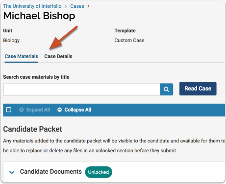 The case page is a tabbed interface, the Case Materials tab, and the Case Details tab.