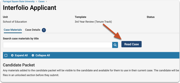 """Select """"Read Case"""" on the Case Materials tab to quickly access the candidate packet and committee materials"""