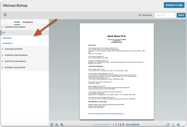 The Document Viewer displays packet materials online