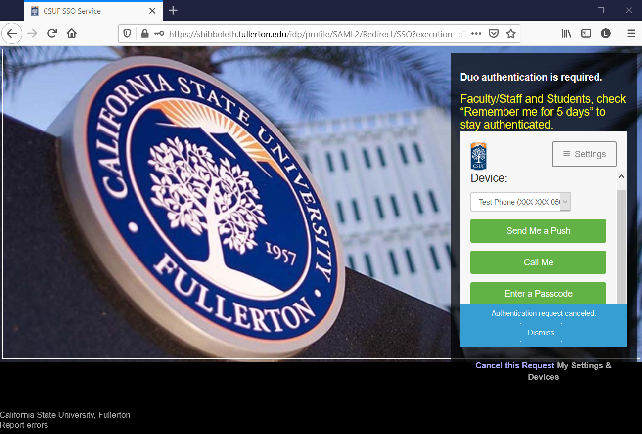 CSUF DUO (two-factored) Authentication page.
