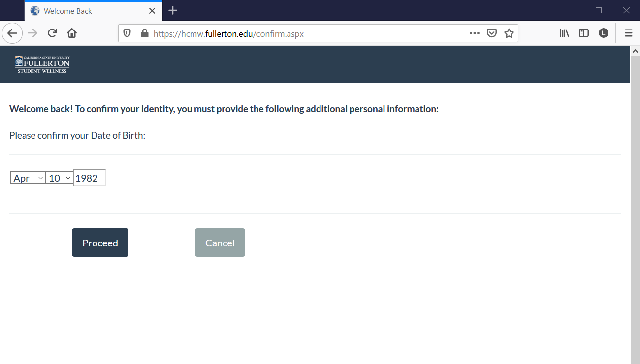 CSUF Health Portal Date of Birth Authentication page.