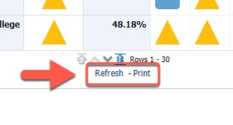 Arrow pointing to Refresh and Print link