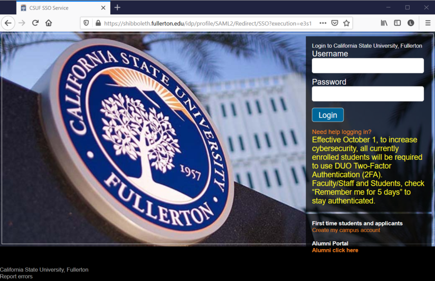 CSUF authentication Login page.