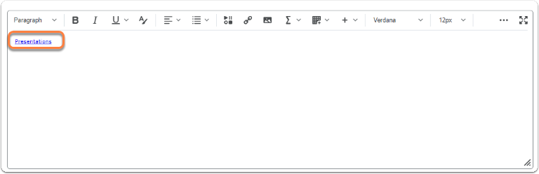 Quicklink appears in the HTML Editor