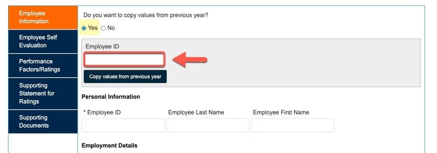 Arrow pointing to Employee ID field