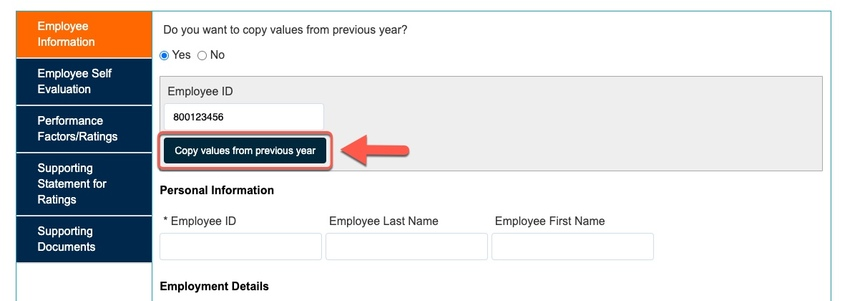 Arrow pointing to Copying values from previous year button