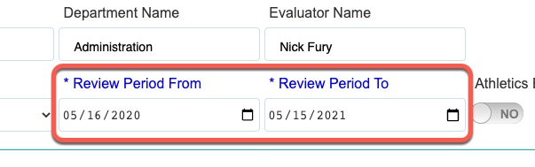 box highlighting  Review Period fields