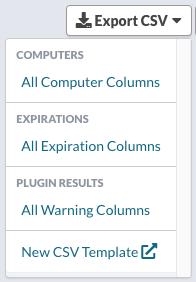 Dashboard - Groups - Export CSV menu
