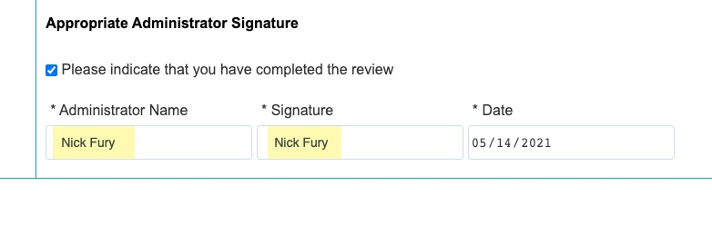 Appropriate Administrator Signature field with populated signatures