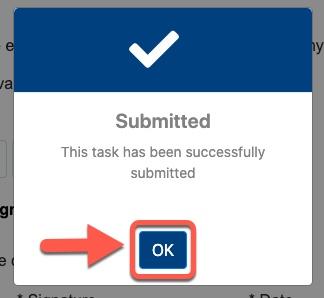 Arrow pointing to OK button