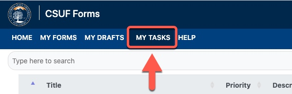 Arrow pointing to My Tasks tab
