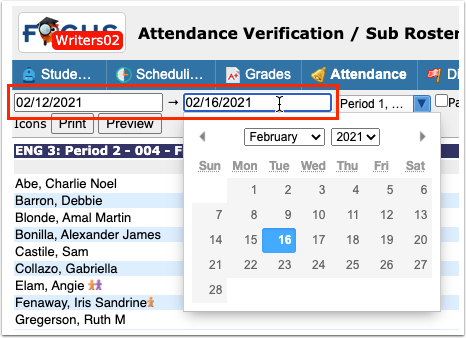 Attendance Verification / Sub Rosters