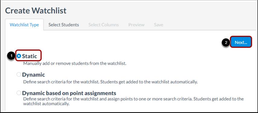 Select Static Watchlist